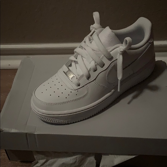 Size 45y All White Air Force Ones